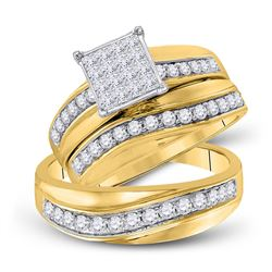 His Hers Princess Diamond Square Matching Bridal Wedding Ring Set 1 Cttw 14kt Yellow Gold - REF-96N9