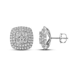 Womens Round Diamond Double Square Frame Cluster Earrings 1-1/2 Cttw 14kt White Gold - REF-104K9Y