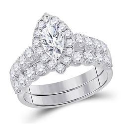 Marquise Diamond Bridal Wedding Ring Band Set 2 Cttw 14kt White Gold - REF-263H5R