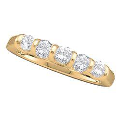 Womens Round Diamond 5-stone Single Row Wedding Band 1/2 Cttw 14kt Yellow Gold - REF-40N9F