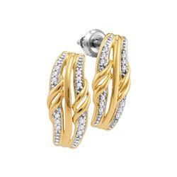 Womens Round Diamond Vertical Stud Earrings 1/12 Cttw 10kt Yellow Gold - REF-8N5F
