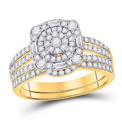 Round Diamond Bridal Wedding Ring Band Set 1 Cttw 14kt Yellow Gold - REF-74Y5N