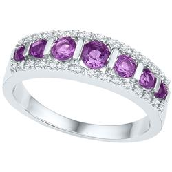Womens Round Lab-Created Amethyst Band Ring 3/4 Cttw 10kt White Gold - REF-18W9K