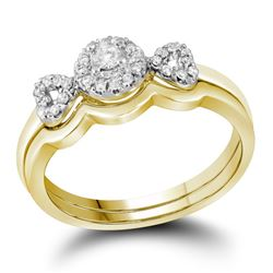 Round Diamond Halo Bridal Wedding Ring Band Set 1/4 Cttw 10kt Yellow Gold - REF-30F9W