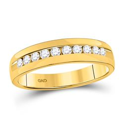 Mens Round Diamond Wedding Single Row Band Ring 1/2 Cttw 14kt Yellow Gold - REF-60M9H