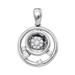 Womens Round Diamond Circle Cluster Pendant 1/8 Cttw 10kt White Gold - REF-14W9K