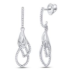 Womens Round Diamond Dangle Earrings 1/4 Cttw 10kt White Gold - REF-18Y5N