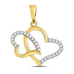 Womens Round Diamond Double Heart Pendant 1/6 Cttw 10kt Yellow Gold - REF-10Y5N