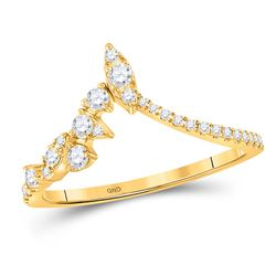 Womens Round Diamond Marquise Dot Chevron Band Ring 1/3 Cttw 14kt Yellow Gold - REF-29H5R