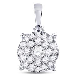 Womens Round Diamond Cluster Pendant 1/2 Cttw 14kt White Gold - REF-32H5R