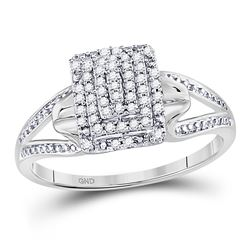 Womens Round Diamond Cluster Ring 1/6 Cttw 10kt White Gold - REF-16H5R