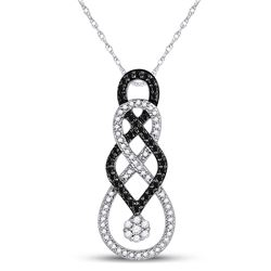 Womens Round Black Color Enhanced Diamond Cluster Pendant 1/3 Cttw 10kt White Gold - REF-21A5M