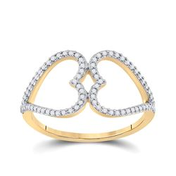 Womens Round Diamond Negative Space Heart Ring 1/5 Cttw 10kt Yellow Gold - REF-16X9A