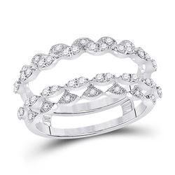 Womens Round Diamond Wedding Wrap Wrap Ring Guard Enhancer 3/8 Cttw 14kt White Gold - REF-49W5K