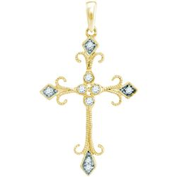 Womens Round Diamond Cross Pendant 1/10 Cttw 10kt Yellow Gold - REF-9M5H