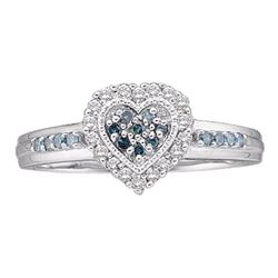 Womens Round Blue Color Enhanced Diamond Heart Cluster Ring 1/4 Cttw 10kt White Gold - REF-18A9M