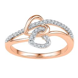 Womens Round Diamond Double Joined Heart Ring 1/5 Cttw 10kt Rose Gold - REF-20M9H