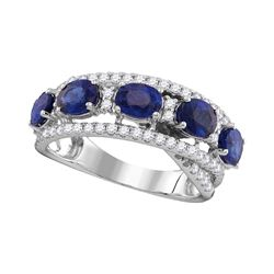Womens Round Blue Sapphire Diamond Fashion Band Ring 2-7/8 Cttw 18kt White Gold - REF-183H5R