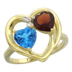 2.61 CTW Diamond, Swiss Blue Topaz & Garnet Ring 14K Yellow Gold - REF-33M9K