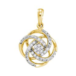 Womens Round Diamond Cluster Pendant 1/10 Cttw 10kt Yellow Gold - REF-10N5F