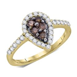 Womens Round Brown Diamond Cluster Ring 1/2 Cttw 10kt Yellow Gold - REF-26A5M