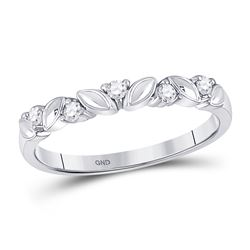 Womens Round Diamond 5-Stone Stackable Band Ring 1/10 Cttw 14kt White Gold - REF-14Y9N