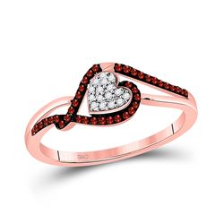Womens Round Red Color Enhanced Diamond Heart Cluster Ring 1/6 Cttw 10kt Rose Gold - REF-13N9F