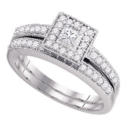 Princess Diamond Halo Bridal Wedding Ring Band Set 1/2 Cttw 10kt White Gold - REF-43R5X