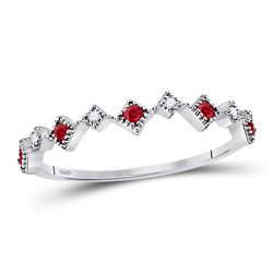 Womens Round Ruby Diamond Milgrain Square Stackable Band Ring 1/8 Cttw 10kt White Gold - REF-9W5K