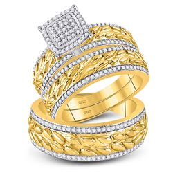 His Hers Round Diamond Cluster Matching Wedding Set 5/8 Cttw 10kt Yellow Gold - REF-74K9Y