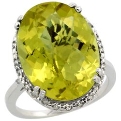 13.71 CTW Lemon Quartz & Diamond Ring 14K White Gold - REF-53N8Y