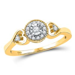 Round Diamond Solitaire Bridal Wedding Engagement Ring 1/8 Cttw 10kt Yellow Gold - REF-14Y9N