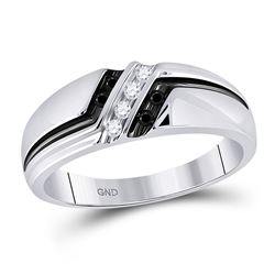 Mens Round Black Color Enhanced Diamond Band Ring 1/5 Cttw 10kt White Gold - REF-23K5Y