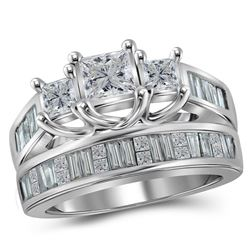 Princess Diamond 3-Stone Bridal Wedding Ring Band Set 2 Cttw 14kt White Gold - REF-283F9W