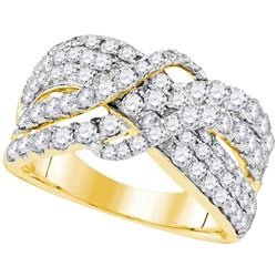 Womens Round Diamond Crossover Cocktail Ring 2 Cttw 14kt Yellow Gold - REF-131F5W