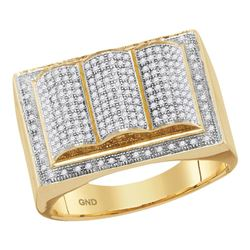 Mens Round Diamond Rectangle Ripple Cluster Ring 3/4 Cttw 10kt Yellow Gold - REF-47F9W