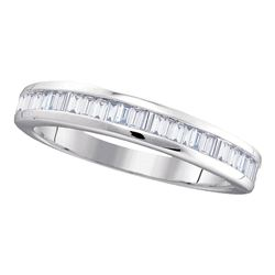 Womens Baguette Diamond Wedding Band 1/2 Cttw 10kt White Gold - REF-23Y5N