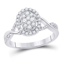 Womens Round Diamond Oval Cluster Ring 1/2 Cttw 14kt White Gold - REF-48R9X