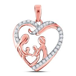 Womens Round Diamond Mother Children Family Heart Pendant 1/4 Cttw 10kt Rose Gold - REF-16X9A
