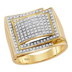 Mens Round Diamond Domed Cluster Ring 1/2 Cttw 10kt Yellow Gold - REF-48M9H
