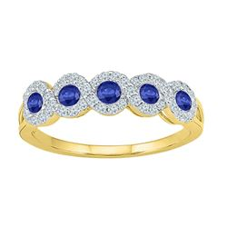 Womens Round Lab-Created Blue Sapphire Band Ring 1/2 Cttw Size 10 10kt Yellow Gold - REF-21Y9N