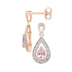 Womens Pear Lab-Created Morganite Diamond Dangle Earrings 1/2 Cttw 10kt Rose Gold - REF-19W5K