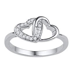 Womens Round Diamond Double Locked Heart Ring 1/12 Cttw 10kt White Gold - REF-13H5R