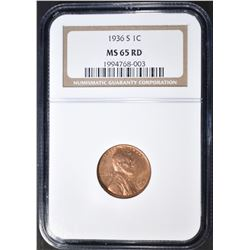 1936-S LINCOLN CENT, NGC MS-65 RED