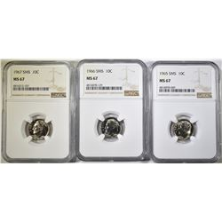 1965, 66 & 67 SMS ROOSEVELT DIMES, NGC MS-67