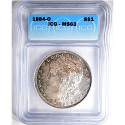 1884-O MORGAN DOLLAR, ICG MS-63