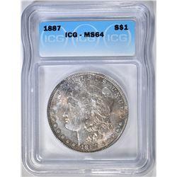 1887 MORGAN DOLLAR ICG MS-64