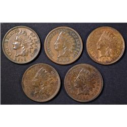1888, 90, 97, 1905 XF & 1901 BU RB INDIAN CENTS