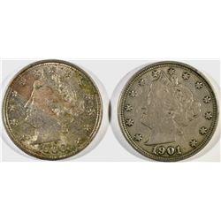1900 AU & 1901 XF/AU LIBERTY NICKELS