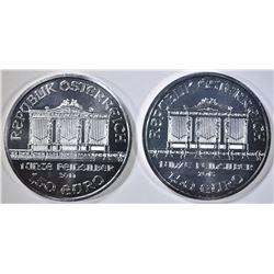 2014 & 15 1-oz SILVER AUSTRIA PHILHARMIC COINS